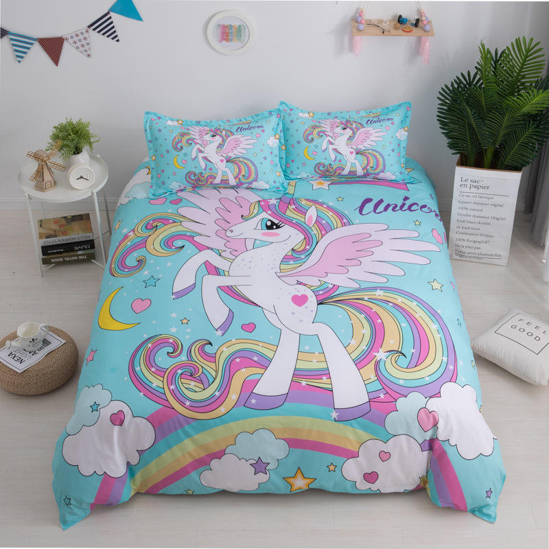 Custom Printed Twin Queen Watercolor Cotton Polyester Fabric Kids Girl Unicorn Bedding Comforter Bed Sheet Set