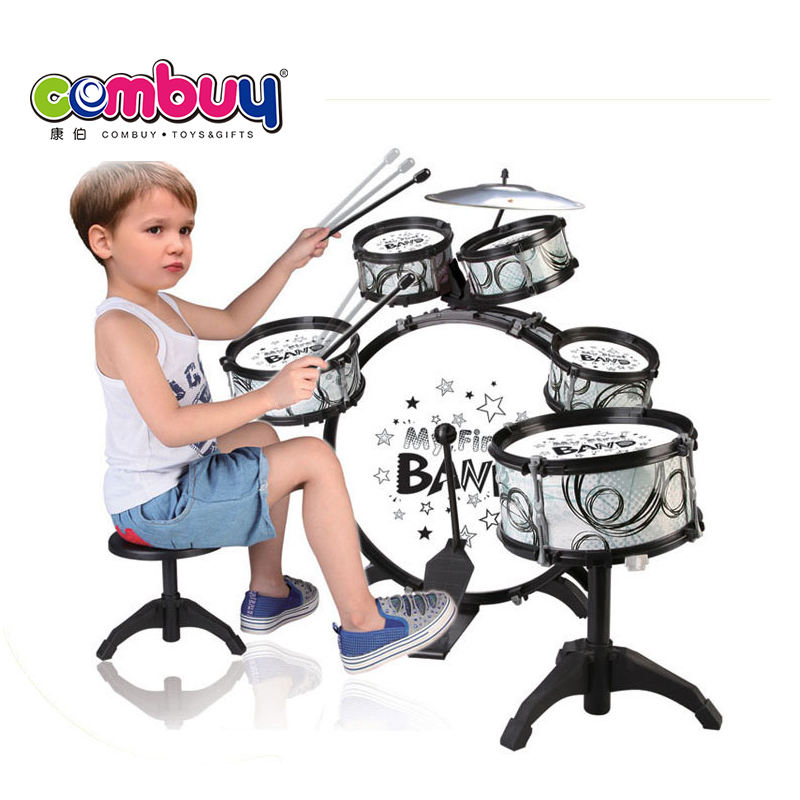 Children play toys big jazz musical instruments kids drum set