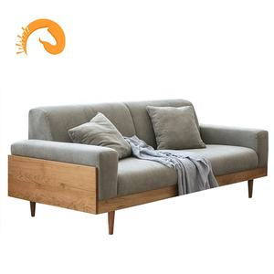 Factory price high quality Nordic Custom Project Scandinavian Furniture solid wood Sofa 3 seaters Modern Fabric sofas
