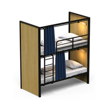 Steel frame OEM hotel lodge bedroom furniture set bunk bed double beds with desk for hotel and hostel