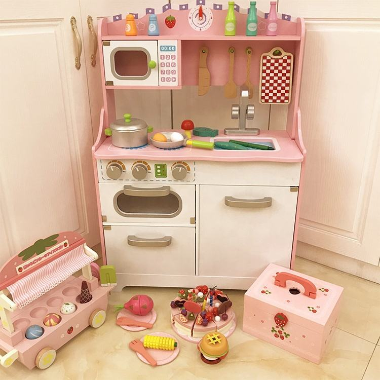 custom Simulation Educational Cooking wooden Big kitchen pretend play toy
