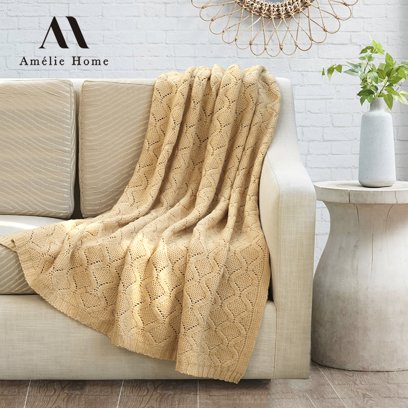 Amelie Home Embossed Knitted Recycle Polyester Blanket For Travel Airplane Sofa