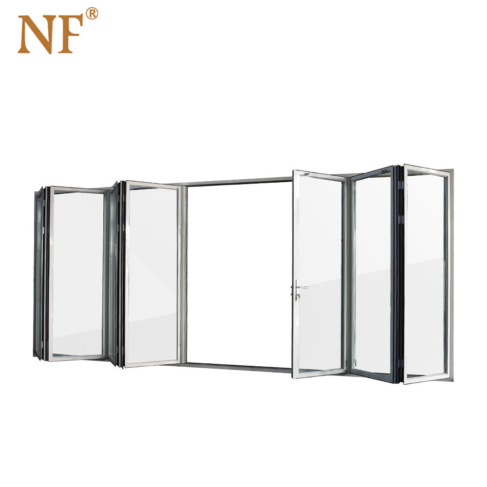 wood frame clad Aluminum bifold folding glass doors