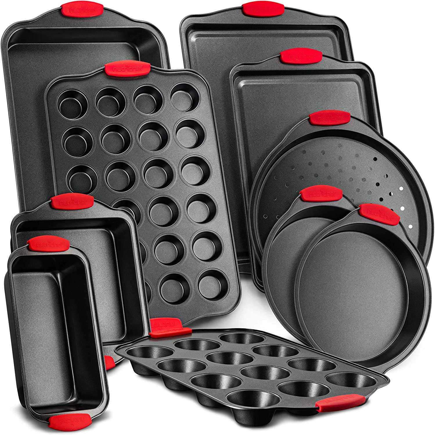 Customized Carbon Steel Nonstick 10 Piece Bakeware Cake Baking Tools Set for Home Loaf Cookie Sheet Pan with Silicone Handles
