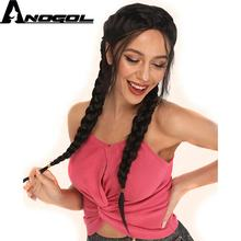 Anogol Black Braided Lace Front Wig With Baby Hair Long Natural Straight Double Braided Synthetic Wigs