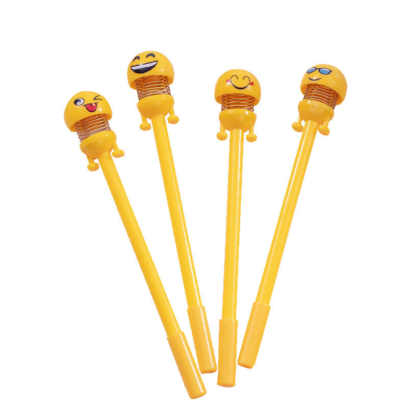Free Shipping advertising Cute Spring Shaking Head Doll Pen Smiley Spring Q 0.5mm Refill Expression Black Gel Pen
