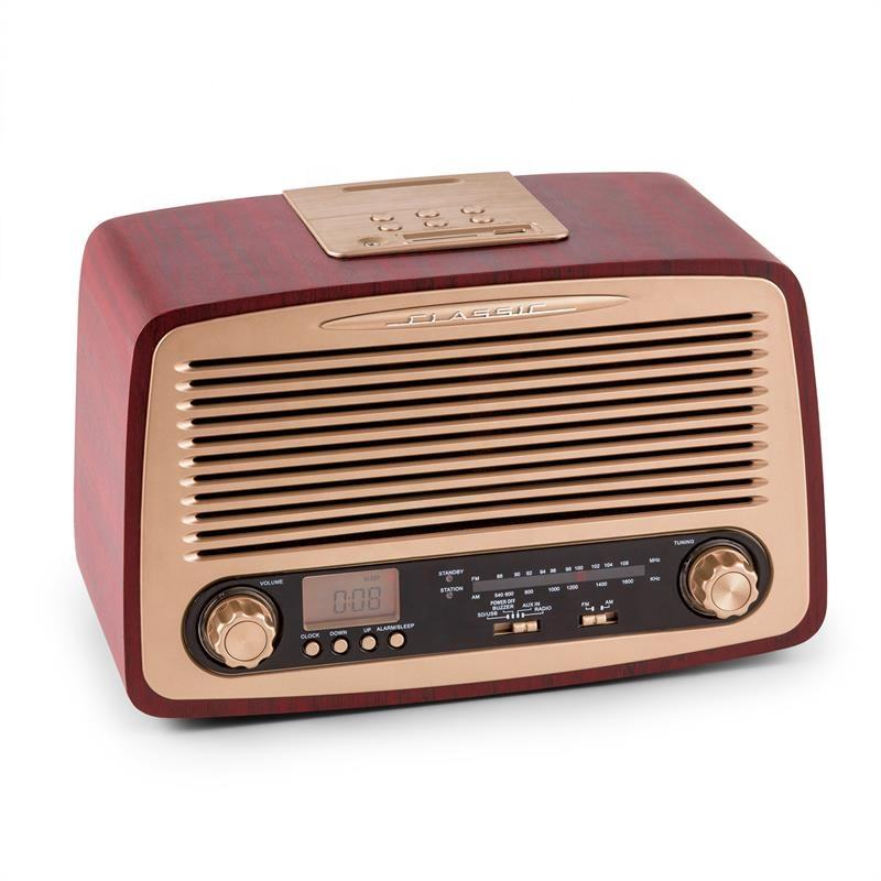 Antique vintage wooden retro AM FM radio USB/SD music player with clock and alarm clock function