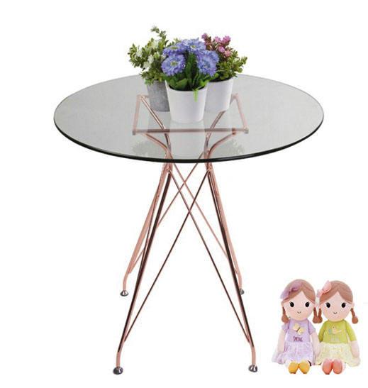 European Glass Coffee Table, Rose Gold Table For Living Room Furniture