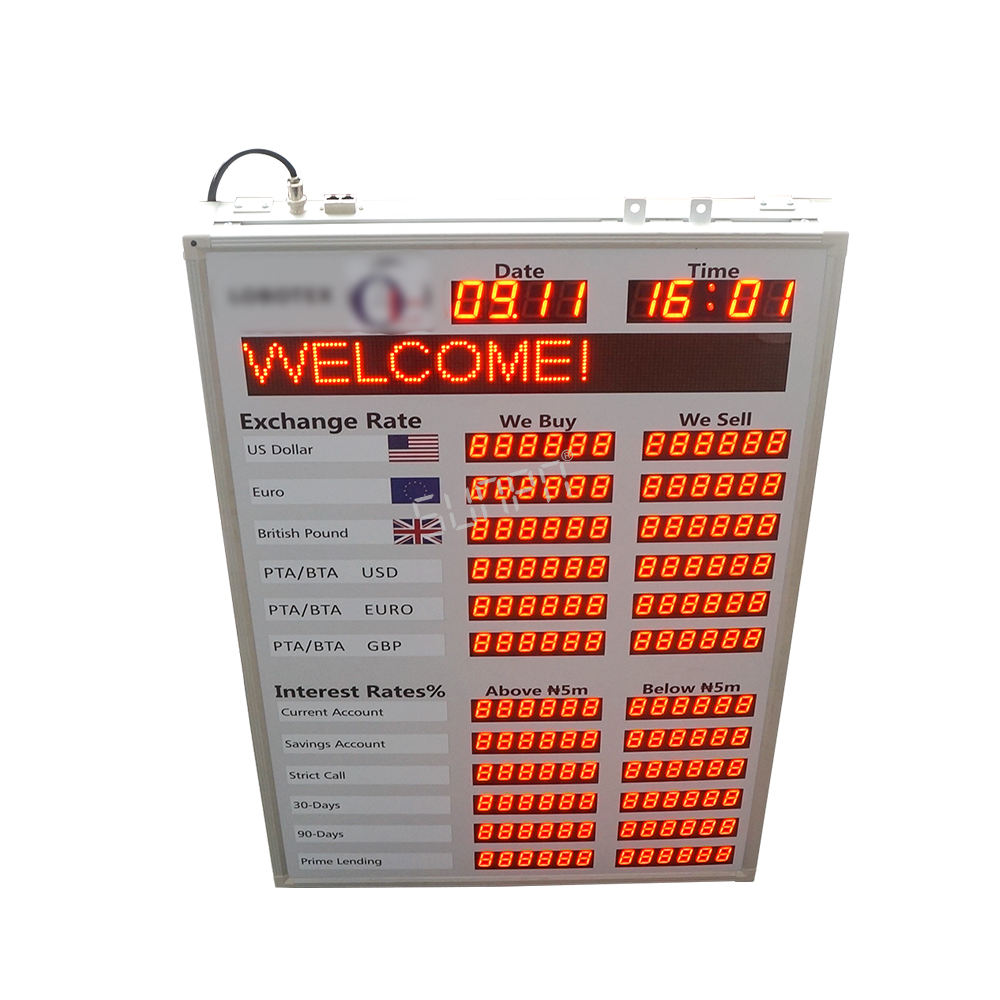 One-Stop Service [ Board Indoor Led ] Indoor Africa 1inch Currency Exchange Display Board Indoor Brightness Led Exchange Currency Sign Led Foreign Exchange Rates Display