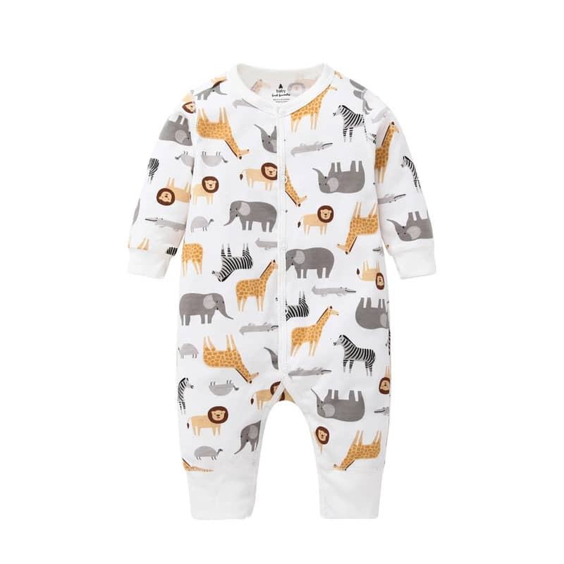 long Sleeve animal printing Newborn Baby Clothes Organic Baby Romper sleepsuit