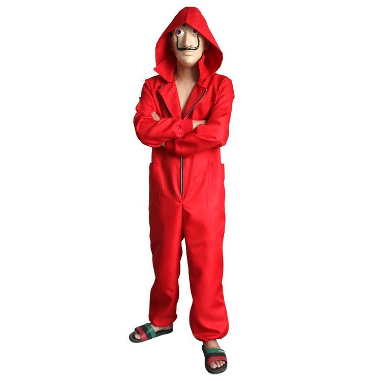 Ainiel Salvador Dali Cosplay Costume La Casa De Papel Cosplay Fancy Red Jumpsuit Clothes Halloween Party for Adult Women and Men