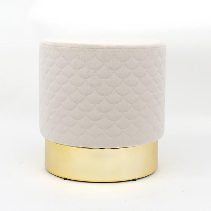 Customized OEM Round Ottoman Pouf with gold metal stainless steel base Fabric Foam Chair Stool modern home furniture