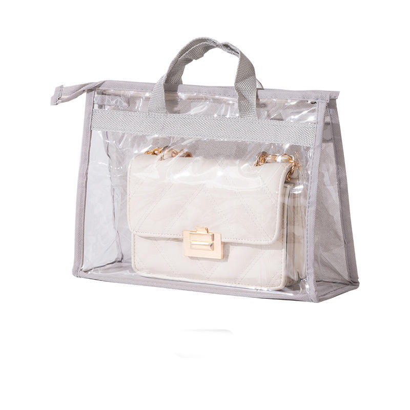 Custom dust-proof handbag protector tote bag transparent clear pvc dust cover bag for handbag