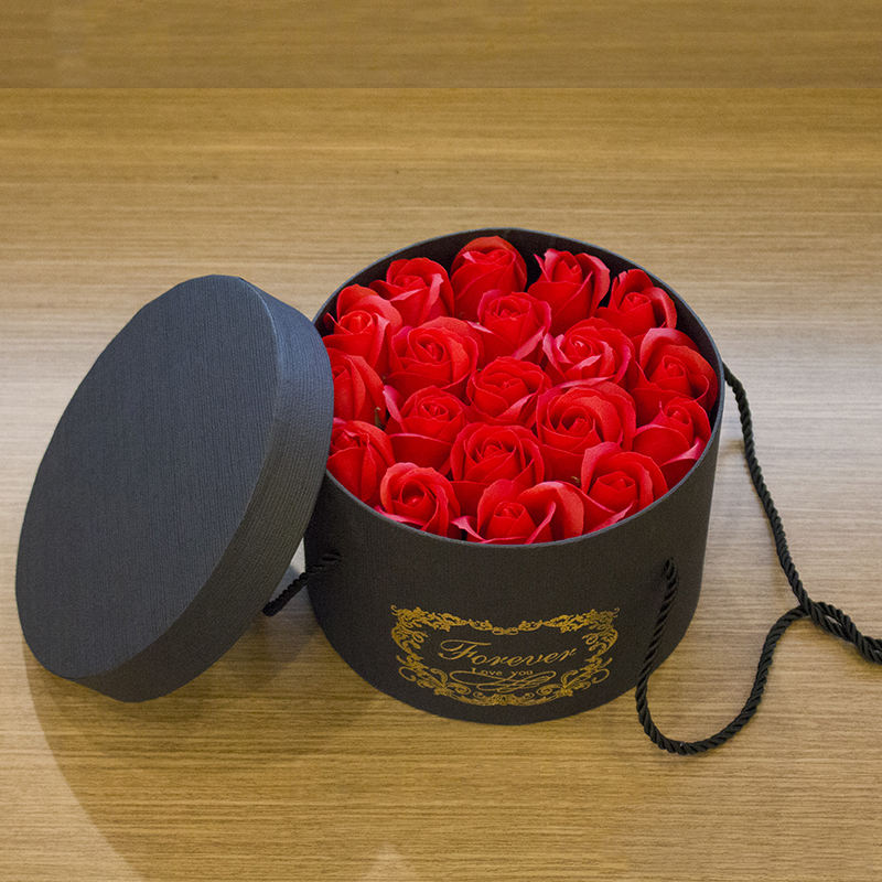 Wholesale Preserved soap flower artificial roses with box round gift box bouquet