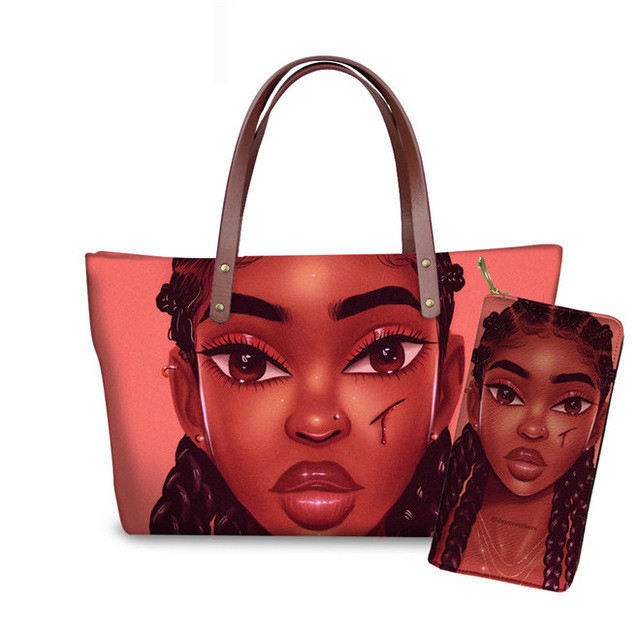 2Pcs Lilac/Purple Handbags&PU Leather Wallet For Women Beautiful Braids Africa Girl Cartoon Print Women Hanbags Fit Travel Work