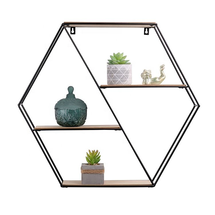Wholesale High Quality Hexagon geometric Metal And Wooden Wall mounted Shelf shelves For wall