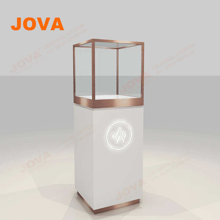 Modern Design Jewelry Glass Cases Showcase Rose Gold Aluminum Tower Display Showcase