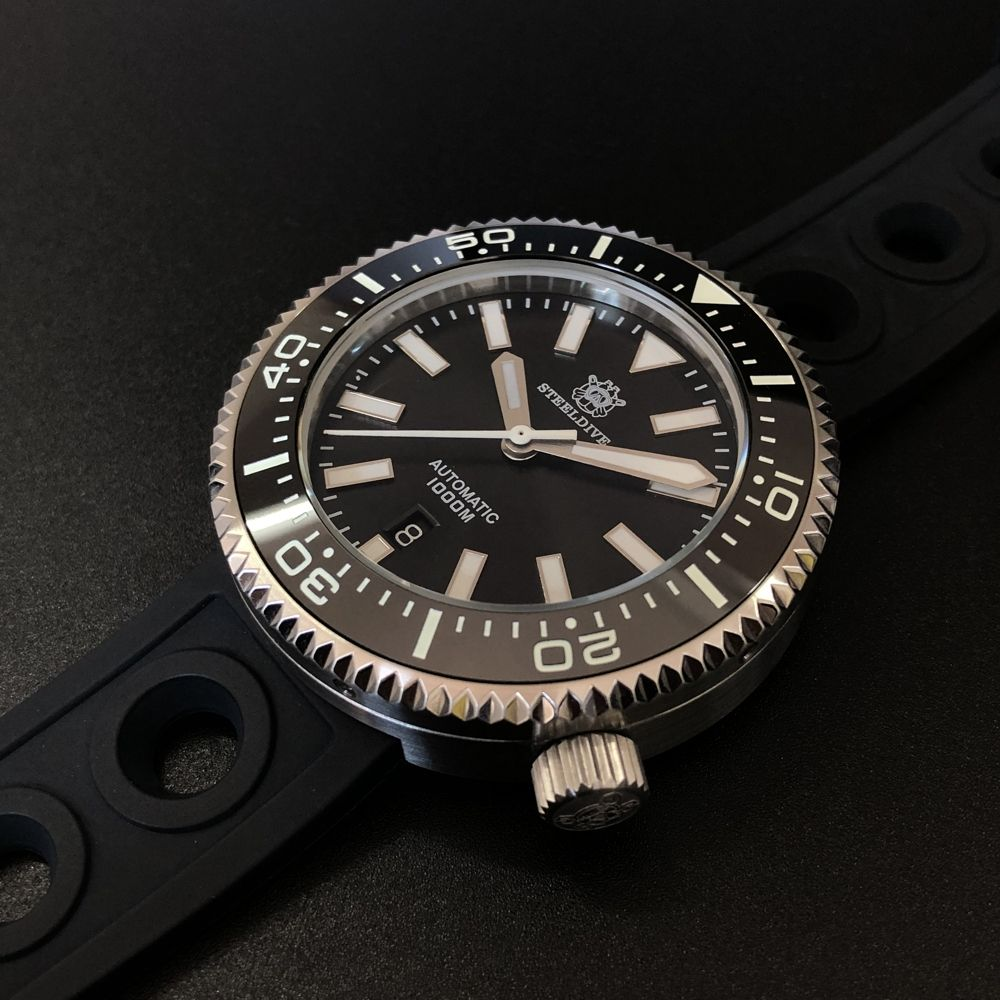 Dual Color Luminous ! SD1976 STEELDIVE NH35 1000M Water Resistant Stainless Steel Automatic Diver/Dive Mechanical Watch