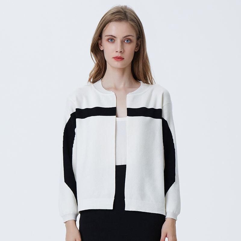 Лидер продаж для женщин дамы сплошной с длинным рукавом Кардиган пальто best дизайн yong Дамы Простой черный и белый кардиган