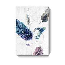 feather image painting canvas digital print stretched frame for wall art decor
