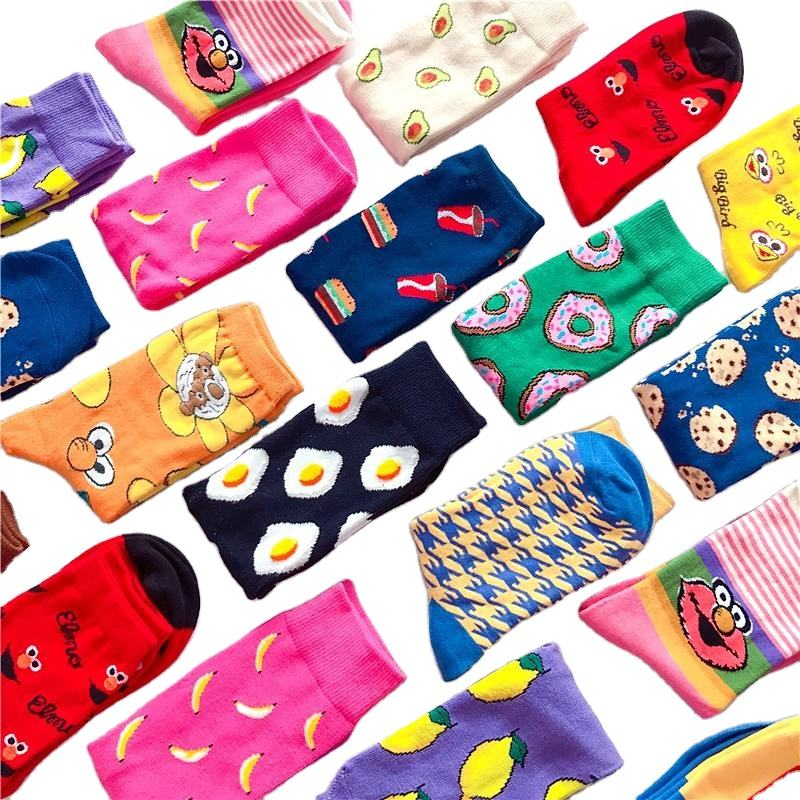 Funny cute Fruit food animal sock for women Bulk wholesale custom premium cotton women knitting socks