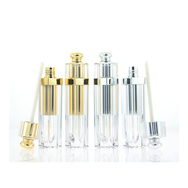 Low MOQ custom logo empty gold silver luxury square lip gloss tubes with wands
