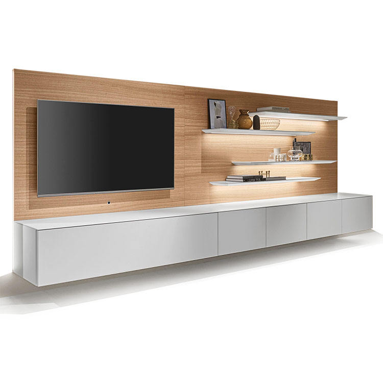 Modern TV Cabinet Unit Designs with LED Lighting in White and Woodgrain
