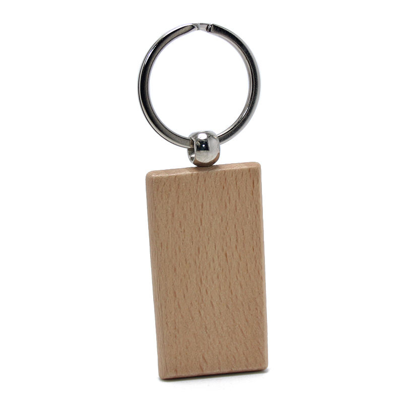 Beech Wood Pine Tree Rectangle Wooden Material Key Chain Ring Holder Promotional Custom Wholesale Blank Natural Wood Keychain
