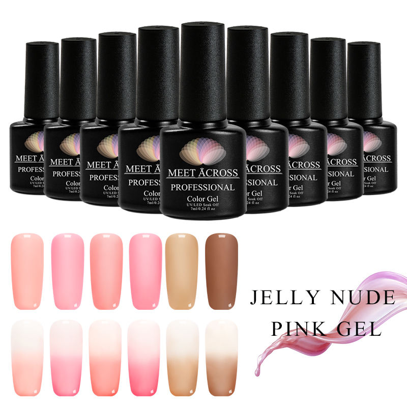 Professional Wholesale Nail Supplies Jelly Pink Soak Off UV Gel Polish