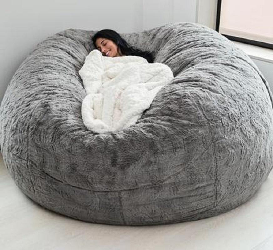 dropshipping Sack Bean Bag Chair Giant Foam Furniture bed Bean Bag Big Sofa with Soft Faux Fur Cover living room sofas