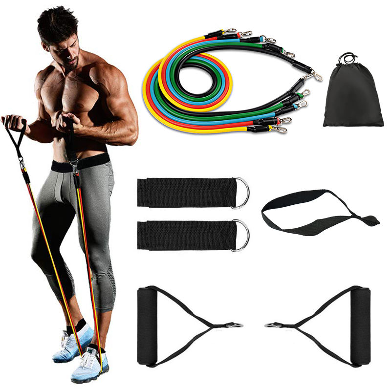 Graphic Customization Resistance Bands Custom Exercise Sports Elastic Resistance Bands Set Fitness Power Elastic Soft Foam Handles Home Gym Fitness Resistance Bands