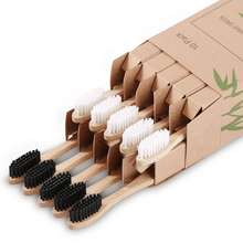 Custom Logo Bamboo Toothbrush Organic Eco-Friendly Biodegradable Tooth Brush Set for Adults and Teenagers