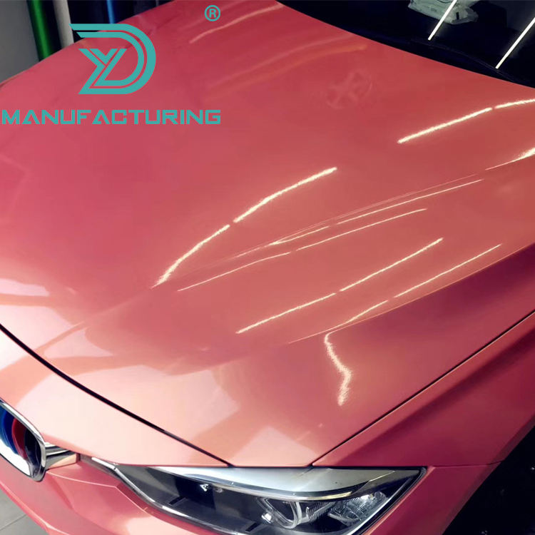 Glossy Magic coral gold pink flow Vinyl For Car Wrap with air bubble Free Vehicle Covering Film