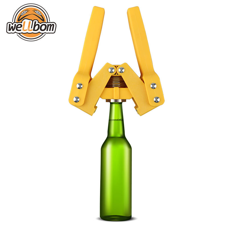 Premium Quality Manual Bottle Capper Yellow Color Reusable Beer Crown Cap Double Handles Beer Capping Machine for Home Brewing