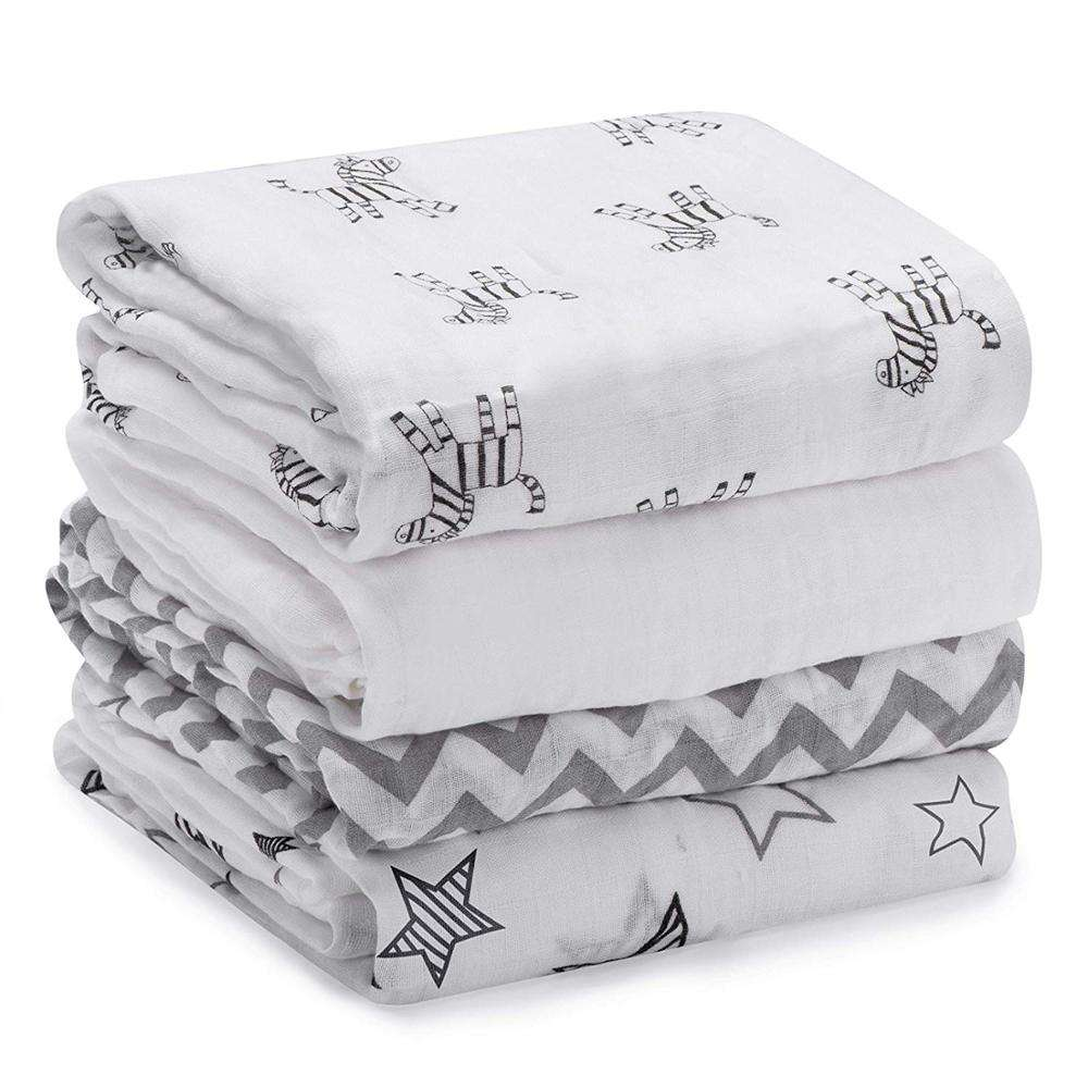 Soft and Silky, 70% Bamboo 30% Cotton 47x47inch (1pack),Muslin Baby Swaddle Blanket Bunny Print, Baby Shower Gifts, Luxurious