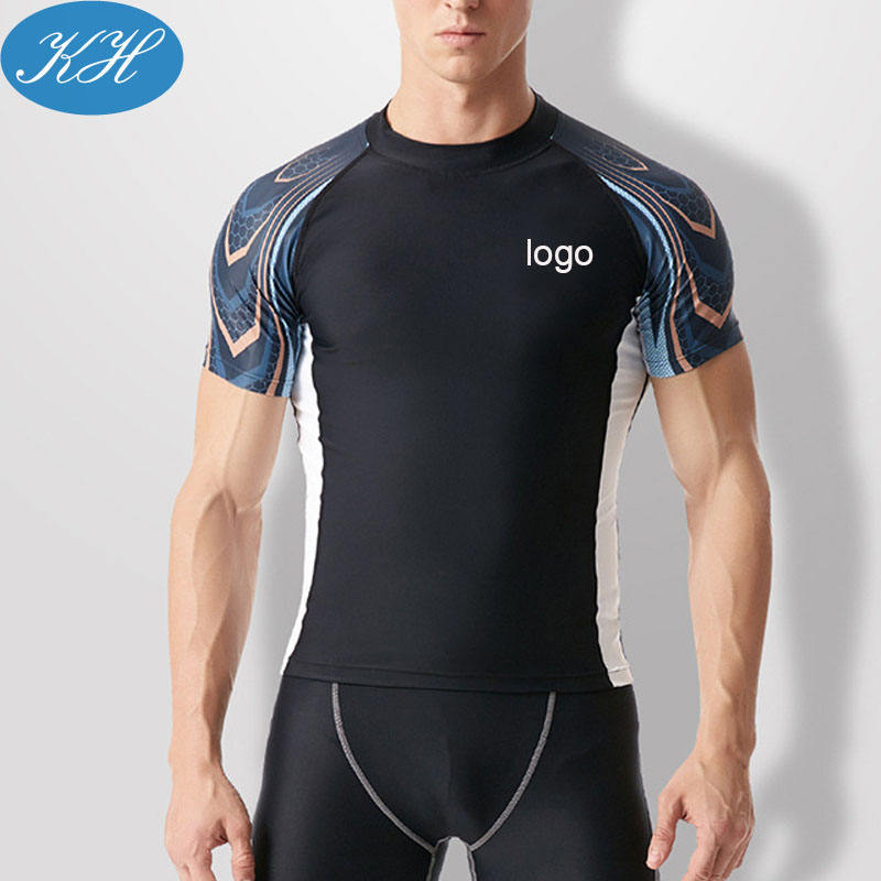 Top Quality Men Swimwear Quick Dry Short Sleeve Surfing Shirt Men Rush Guard