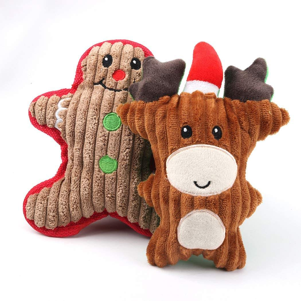 Wholesale Manufacturer Pet Dog Plush Squeaky Toy Indestructible Interactive Bear Snowman Santa Reindeer Dog Chew Toy Pet Dog Toy