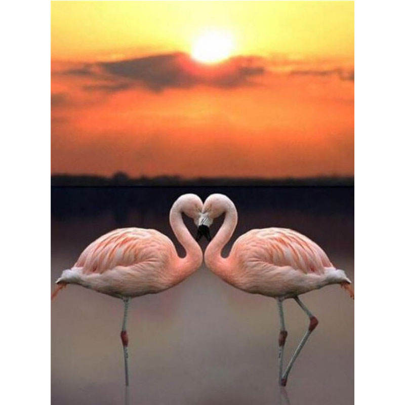Yiwu Huacan Diamond Painting Set Flamingo Diamond Mosaic Full Animal Bedroom Decoration Wall Art