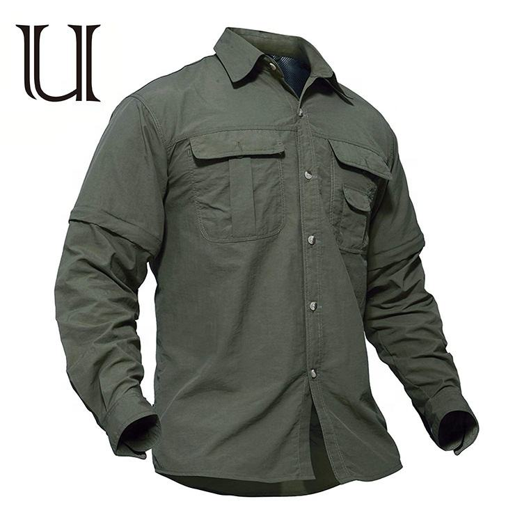Hot selling breathable quick-drying UV protection solid color arm green button opened long sleeve Men's shirt