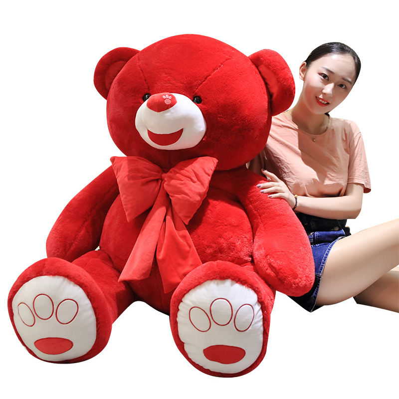 wholesale big teddy bear toys white and red giant teddy bear soft plush toy