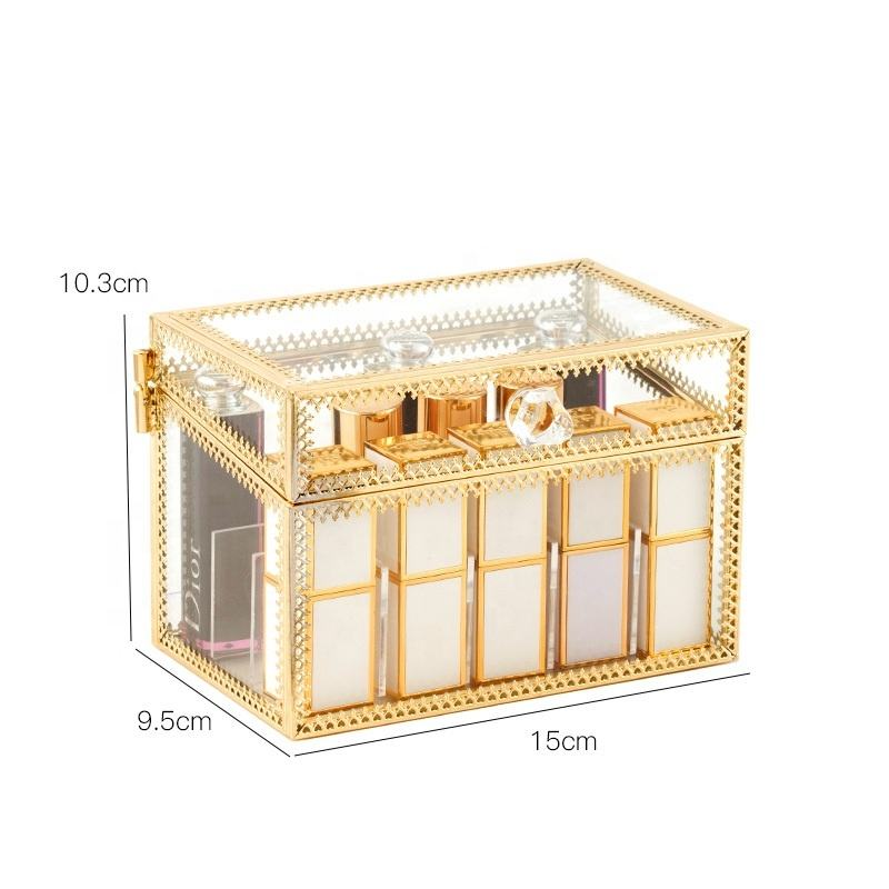 Gold Highlighter Vintage Glass Make up Lipstick Storage Holder Beauty Organizer Case