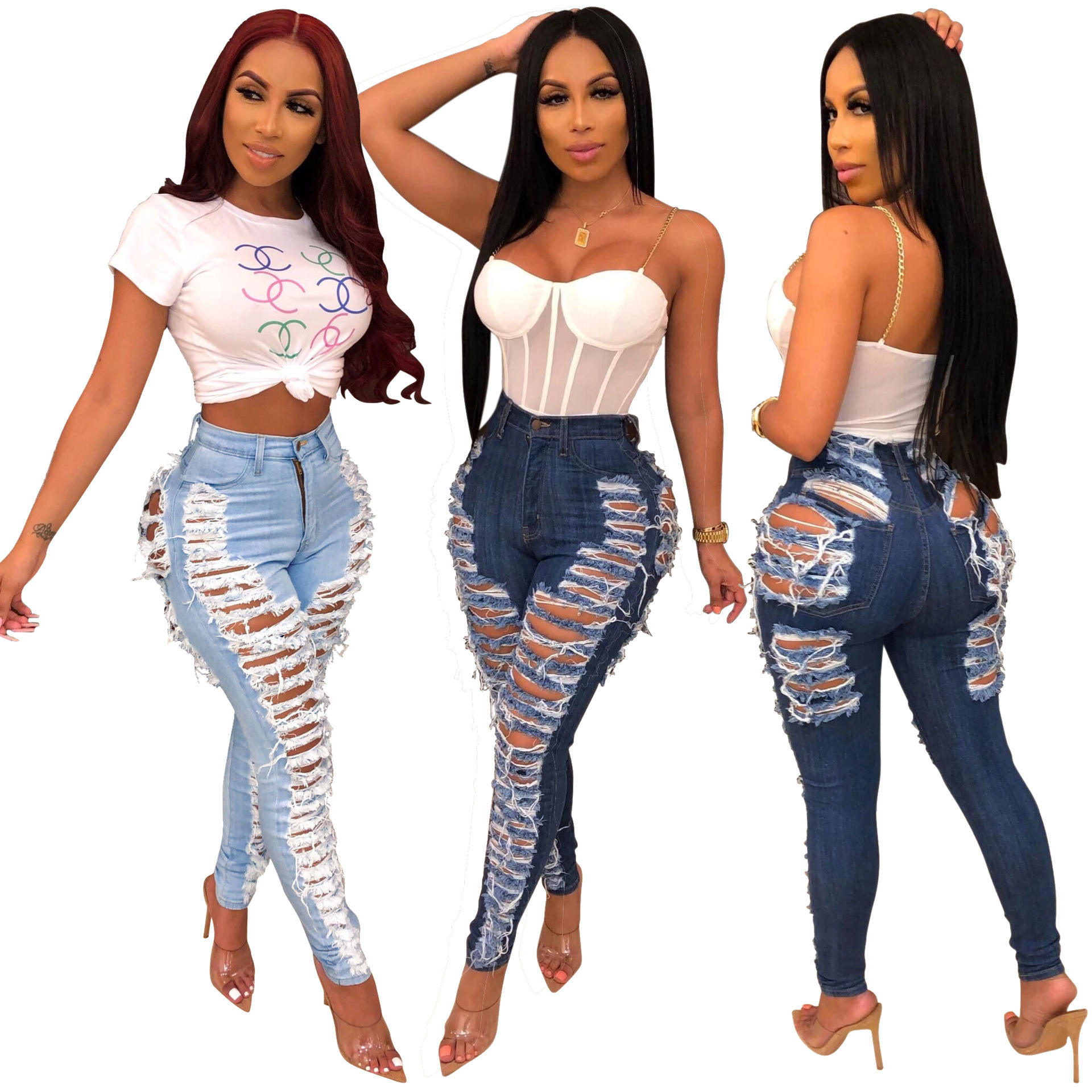 Custom New Fashion Women Boyfriend Jeans Distressed Slim Fit Ripped Pants Comfy Stretch Skinny Jeans