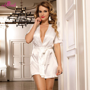 Private label high quality night bridal sheer sleeve white silk satin bath robe