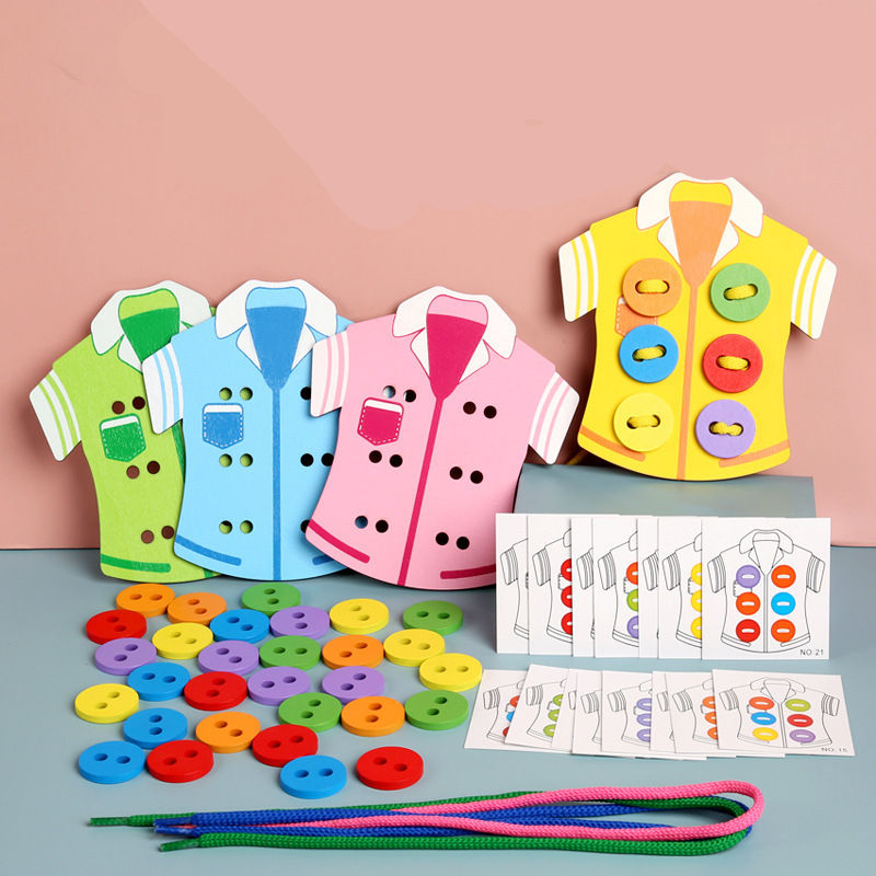 Multi-function Kindergarten Early Educational 4pcs DIY Clothes Shape Thread Game Kids Life Skills Learning Sewing Buttons Toy