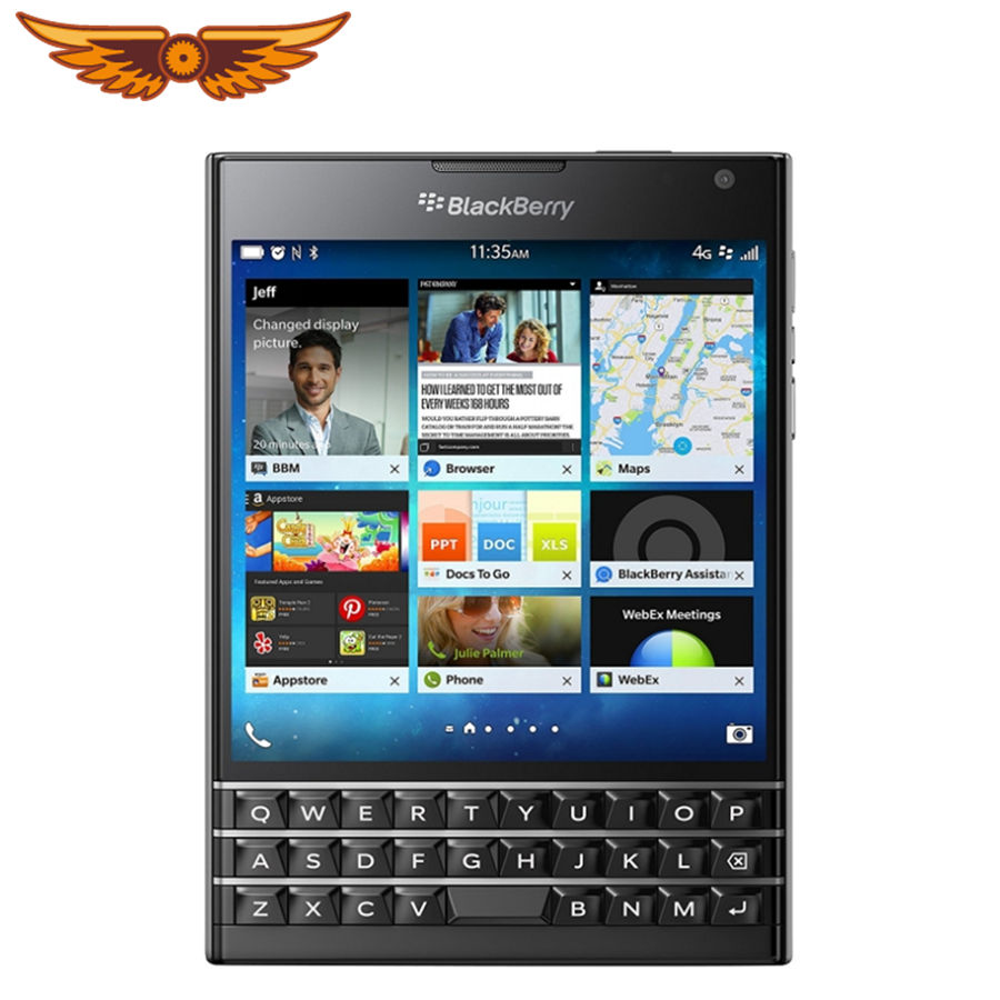 Original Unlocked Cho Blackberry Passport Q30 Quad Core LTE 3GB RAM 32GB ROM 13.0MP BlackBerry OS Điện Thoại Di Động