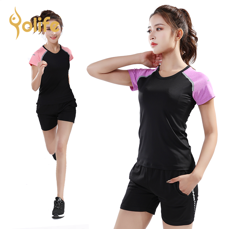 Yolife Women Sport Fitness Set Shirts& Shorts M 4XL Gym Wear Yoga Running Workout Sportswear Tracksuit Jogging