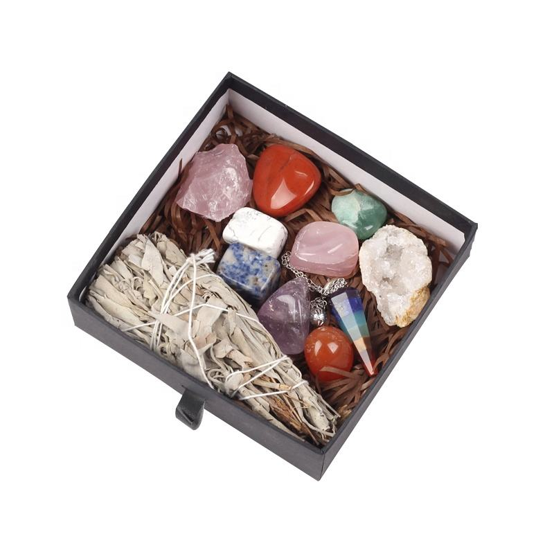 Wholesale 7 chakras reiki healing crystals stones rose quartz amethyst selenite sage box set for gift