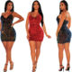 SA1240 club party wear sequined spaghetti strap sleeveless sundress sexy women deep v mini dress