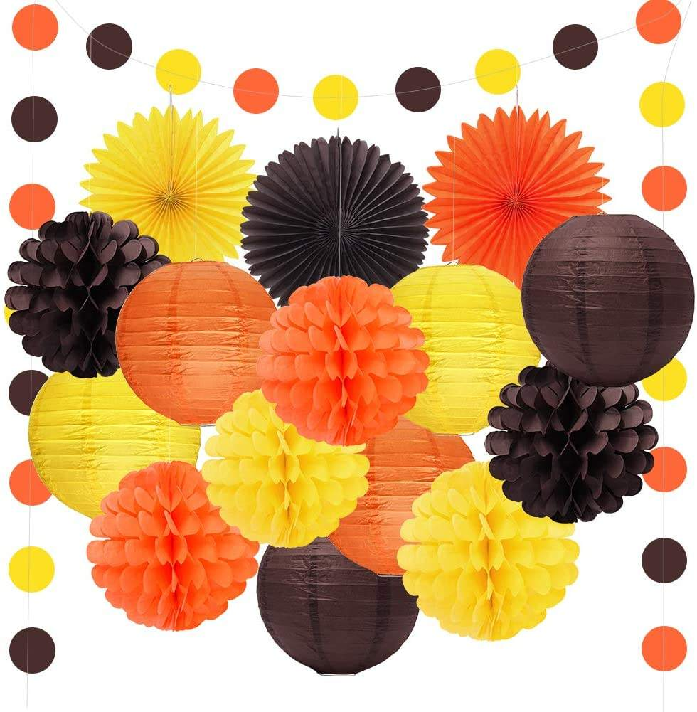 Pafu Autumn Harvest Happy Fall Party Supplies Orange Yellow Brown Lanterns Happy Fall Thanksgiving Day Party Decorations