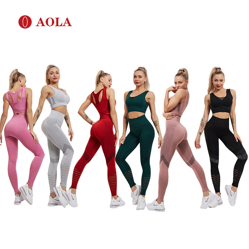AOLA Active Sets Joggers Women Sport Bra And Pants 2020 Fitness Two Piece Athletic Apparel For Yoga Clothes Set